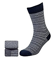 2 Pairs of North Coast Cotton Rich Jacquard Socks