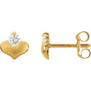 14K Yellow Youth Cubic Zirconia Heart Earrings