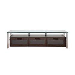 Image of 71-in Decor Espresso with Silver Metal and Black Glass TV Stand (Decor 71 (E)-S-BG)