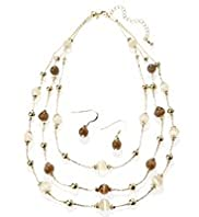 Gold Plated Multi-Strand Catseye Bead Necklace & Earring Set