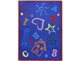 "Joy Carpets Playful Patterns Kid's Art Children Area Rug, Rainbow, 3'10"" x 5'4"""