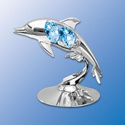 Chrome Plated Dolphin Free Standing - Blue - Swarovski Crystal