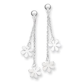 Sterling Silver Flower Dangle Post Earring