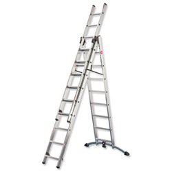 Brand New. Hailo ProfiStep Combi Ladder 3-Section Capacity 150kg Rungs 2x9 for H6.7m 20,7 kg Ref 9309-501