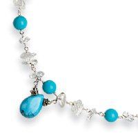 Sterling Silver Created Turquoise Blue Topaz Chip Necklace - 16 Inch - Lobster Claw - JewelryWeb