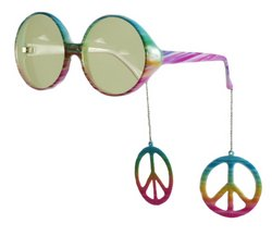Elope Peace Sign Danglers Glasses, Multicolor/Yellow , One Size - 1
