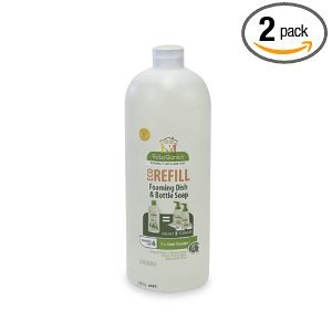 Babyganics Dish Dazzler Foaming Dish Soap Refill, 33.8 fl. oz. (Pack of 2) Dish Wash Dish Soap Natural