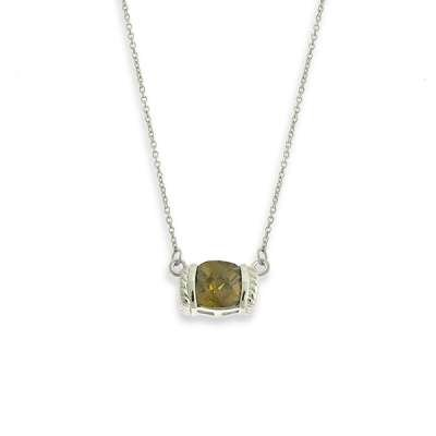In Style 925 Sterling Silver Chain Necklace w/ Enticing Bezel Set Square CZ Olivine Pendant(WoW !With Purchase Over $50 Receive A Marcrame Bracelet Free)