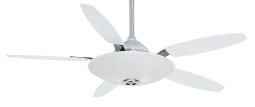 Casablanca C39G199L Antion 52-Inch Ceiling Fan and Cased White Frosted Light, Chrome Motor with Matte Snow White Blades