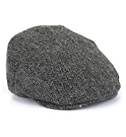 Pure Wool Herringbone Flat Cap