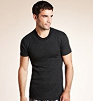 Short Sleeve Ribbed Thermal Vest