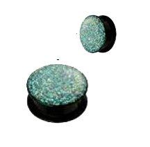 pour-lobe-doreille-noir-en-acrylique-a-vis-revetu-epoxy-vert-transparent-10-mm
