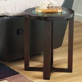 Cheap Marion Dark Brown Round Glass End Table (T477-6)