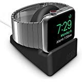 Orzly Compact Stand for Apple Watch - Nightstand Mode Compatible - Black Support Stand with integrated Cable Management Slot (38mm & 42mm & 40mm & 44mm compatible) (Color: CompactStand BLACK)