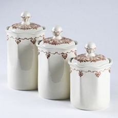 Set Of 3 Off White Ceramic Kitchen Canisters