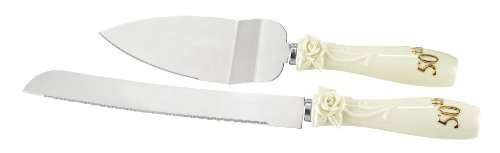 Hortense B. Hewitt Wedding Accessories 50Th Anniversary Pearl Rose Cake Knife And Server Set