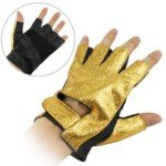Cool Design PU Leather Half-finger Gloves for Men (Gold+Black) by Leather Factory Outlet