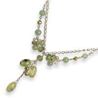 Sterling Silver Prehnite/Green Jade/Quartz/Cultured Green Pearl Necklace - QH2214-16