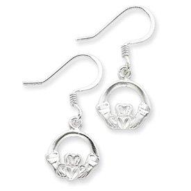 Claddagh Earrings Sterling Silver Diamond-Cut