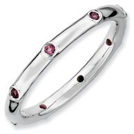 0.23ct Versatile Silver Stackable Rhod. Garnet Ring. Sizes 5-10 Available