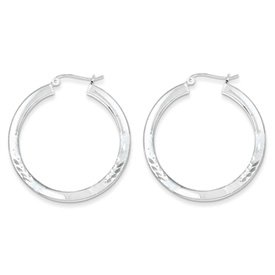 Genuine IceCarats Designer Jewelry Gift Sterling Silver Rhodium-Plated Polished & Satin 3.00Mm D/C Hoop Earrings