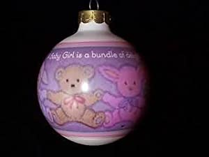 """Baby's First Christmas - Baby Girl"" Glass Ball Christmas Ornament - Hallmark Keepsake 1993 Series"
