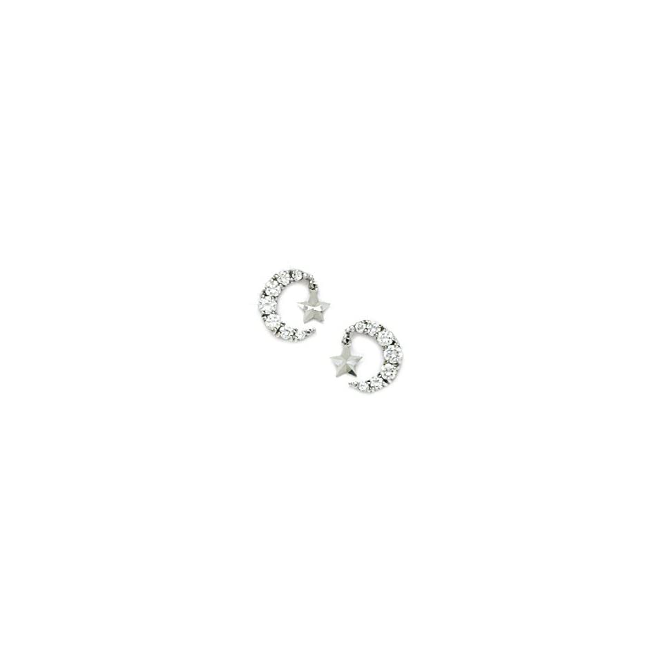 14k White Gold CZ Crescent Moon With a Star Screwback Earrings   Measures 9x9mm   JewelryWeb