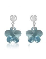 Mahi Liana Collection Blue Rhodium Plated Swarovski Dangle & Drop Earrings For Women ER1104072R