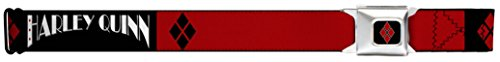 "DC Comics Batman Seatbelt Belt - ""Harley Quinn"" Black & Red Design"