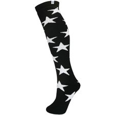 Stars Patterned Thermal Black Ski Tube Socks Adult Size 4-11 (37-46)