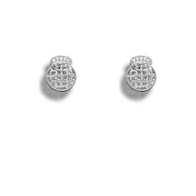 New Style Button Earrings 925 Sterling Silver Jewelry CZ Quilted Circle Earrings(WoW !With Purchase Over $50 Receive A Marcrame Bracelet Free)