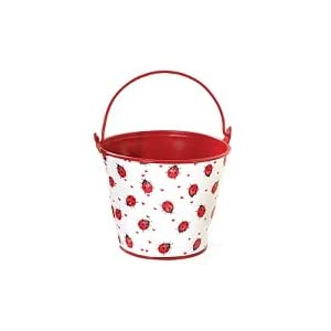Click to buy Decorative Ladybug Tin Pail For Plants, Flower, Home Decorfrom Amazon!
