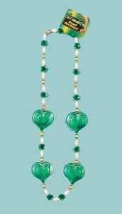 """St. Patrick's Day - Beads - Large Heart Green 42"""""""