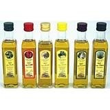 Set of 7 sperlonga extra virgin infused olive oils with truffle, lemon, chilli, garlic, basil, thyme and rosemary 250ml each