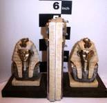 THE PHARAOES AND THE GODS. PHARAHOES BOOK SHELF HOLDERS. ITEM NO-R38135A -RESIN 5 INCHES TALL -PAIR - 2 PC