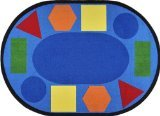 Joy Carpets Kid Essentials Early Childhood Round Sitting Shapes Rug, Multicolored, 7'7""