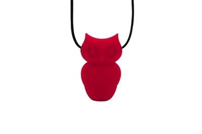 Owl Pendant - Silicone Necklace (Teething/Nursing) (Scarlet Red)