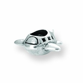 Sterling Silver Reflections Kids Airplane Bead Charm - JewelryWeb