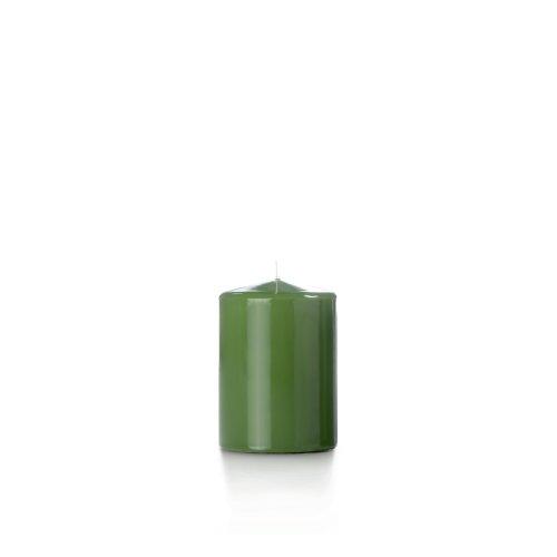Yummi 3X4 High Gloss Pillar Candles, Green Tea - 3 Per Pack
