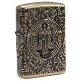Zippo St Benedict Design Pocket Lighter (Color: Antique Brass)