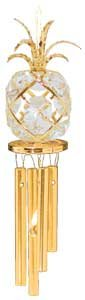 24K Gold Plated Wind Chime Sun Catcher or Ornament..... Pineapple With Clear Swarovski Austrian Crystal