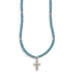 Children's Turquoise Glass Beads and Cross Sterling Silver Necklace