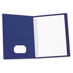 - Two-Pocket Portfolios w/Tang Fasteners, 11 x 8-1/2, Dark Blue, 25/Box