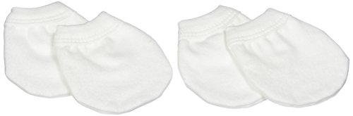 Kushies 2 Pack No Scratch Mittens, White