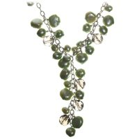 Cultured Freshwater Pearl and Smoky Quartz Necklace in Sterling Silver