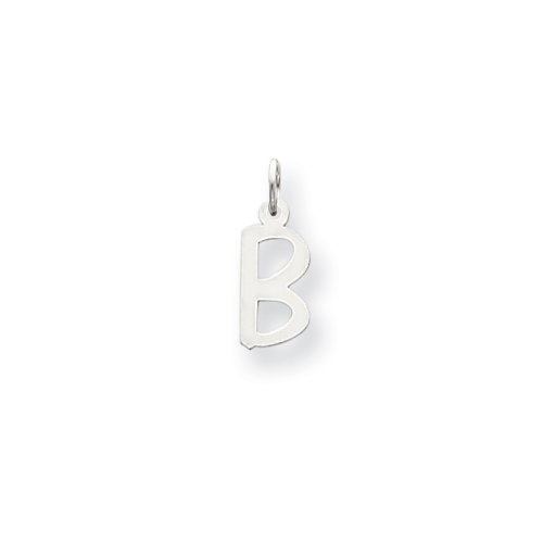 14k White Gold Small Slanted Block Initial B Char
