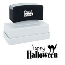 Halloween Rubber Stamp - HAPPY HALLOWEEN (Black Cat)