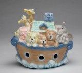 Cosmos 2041 Fine Porcelain Noah's Ark Piggy Bank, 4-5/8-Inch