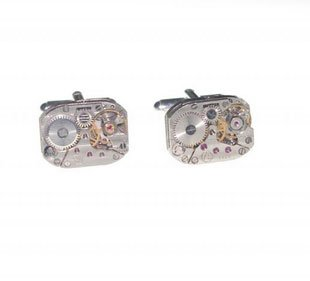 SILVER STEAMPUNK JEWELLERY VINTAGE NEO VICTORIAN WATCH MOVEMENT CUFFLINKS UNIQUE UNUSUAL GIFT IDEA