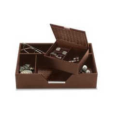 Brown leather valet tray and cufflinks storage or presentation case